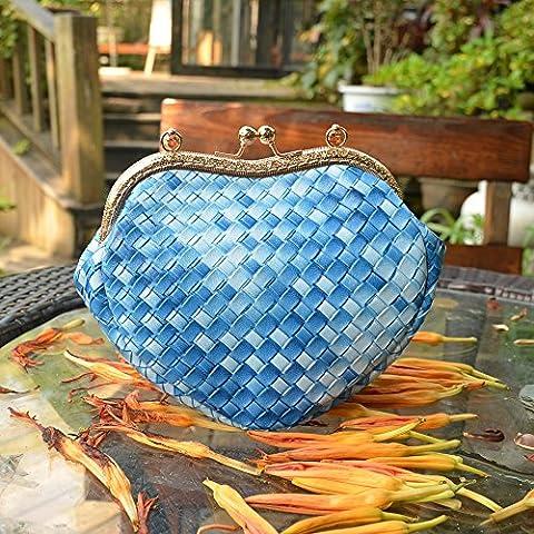 Pura tessuti a mano borsetta blu cielo amore forma diagonale affilato shell borsa ,blu cielo