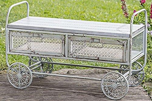 Preisvergleich Produktbild Unbekannt Tisch Tischwagen Teewagen auf Rollen Eisen Holz L100cm