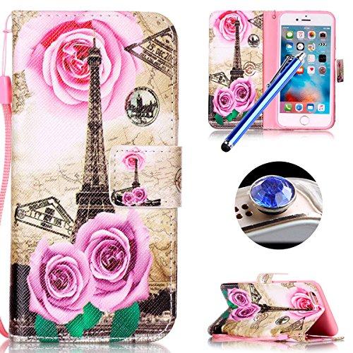 Etsue Lanyard Handytasche für iPhone 6S/iPhone 6 4.7 Zoll Komisch, Brieftasche Hülle für iPhone 6S/iPhone 6 4.7 Zoll Bunt Muster Strap Lederhülle Handyhülle Einzigartig Flip Hülle Leder Schutzhülle Vi Rot RoseBlume,Eiffelturm