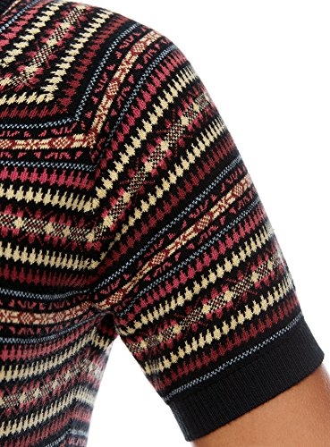oodji Ultra Damen Pullover mit Feinem Jacquardmuster und Kontrastbesatz Mehrfarbig (2919E)