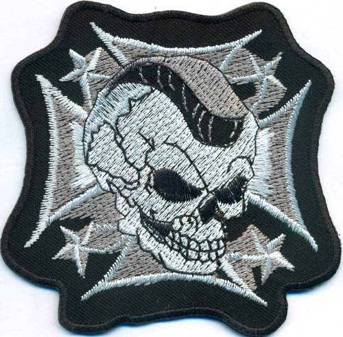 Iron Cross Death Head Skull Biker Rockabilly Motorcycle Aufnäher Patch Bügelbild (Death Head Patch)