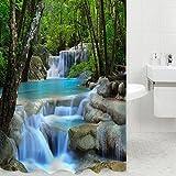 Duschvorhang mit 3-D-Optik, Wasserfall-Motiv, fürs Badezimmer, Wasserabweisend, 1,8x 2m, mit 12Haken