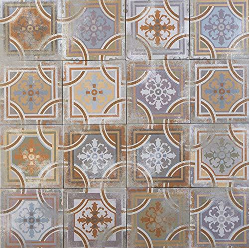 Marokkanische Keramikfliesen orientalisch Ayas 20 x 20 cm matt 1 qm aus glasiertem Steinzeug in Zementoptik geeignet für Wand & Boden   Schöne Dekoration für Küche Flur Küchenrückwand   FL7027