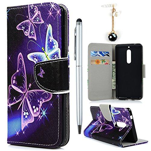 Preisvergleich Produktbild Hülle für Nokia 5 Case Cover YOKIRIN Lederhülle Handyhülle PU Leder Schutzhülle Flipcase Schale Handytasche Magnetverschluss Kunstleder Bookstyle Tasche mit Kartenfach und Ständer Violetter Schmetterling