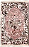 CarpetFine: Kaschmir Seide Teppich 123x190 Pink - Handgeknüpft - Floral