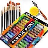 Set completo de pintura acrílica - 24х ricos colores pigmento - 12 x pinceles de arte con Bono pintura arte cuchillo y esponja - para pintura lienzo, arcilla, cerámica y manualidades
