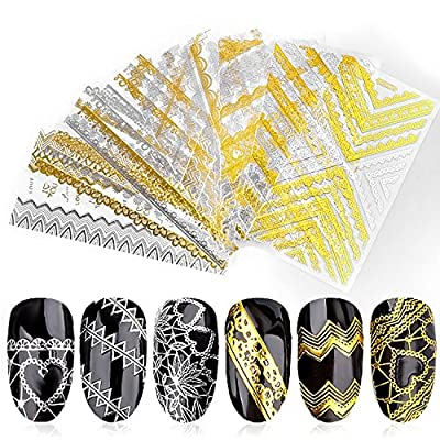 Most Fashion Manicuring Lace Golden 3D Design Metal Nail Art Sticker Golden and Silver Lace Sticker