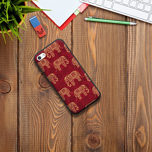 iPhone SE iPhone 5 5S Hülle, WoowCase Handyhülle Silikon für [ iPhone SE iPhone 5 5S ] Indischer Stil mit Elefanten-Muster Handytasche Handy Cover Case Schutzhülle Flexible TPU - Schwarz Housse Gel iPhone SE iPhone 5 5S Schwarze D0064