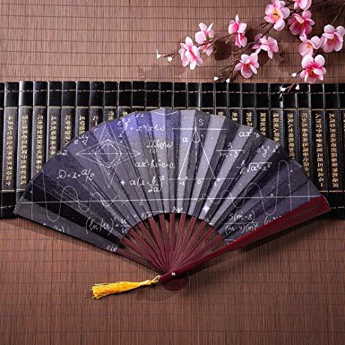 Fan Handschriftliche Wissenschaft Mathematik Mit Bambusrahmen Quaste Anhänger Und Stoffbeutel Faltfächer Holz Bambus Handheld Fan Japanischen Fan Für Kinder ()