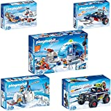 PLAYMOBIL® Action 5er Set 9055 9056 9057 9058 9059 Polar Ranger Hauptquartier + Polar Ranger mit Eisbären + Hundeschlitten + Eispiraten-Racer + Eispiraten-Truck