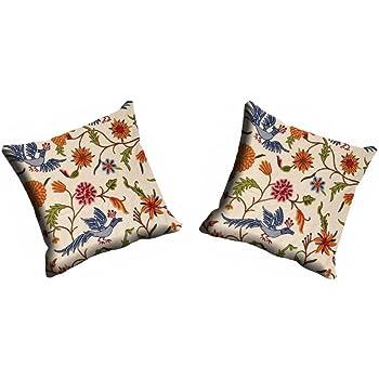 meSleep Digitally Printed Multi Flower Micro Fabric 2 Piece Cushion Cover Set - Cream