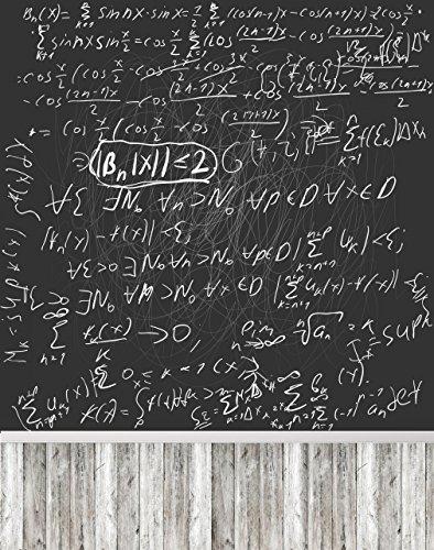 Schule Bildung Foto Hintergrund Tafel Kreide weiß Mathematische Formel Foto Booth Studio Hintergrund mit Holz Boden 5× 7ft