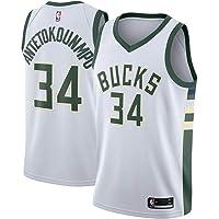 RAAVIN Milwaukee Bucks, La Maglia da Basket,# 34 Giannis Antetokounmpo, Nuovo Tessuto Ricamato, Stile Sportivo
