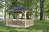 G&C Cotswold - Klassischer Holzpavillon mit Bitumenschindeldach - mit Boden und Balustraden - Maße: 3.34 x 3.34m