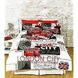 Great Knot Parure de lit Housse de couette en polycoton facile d'entretien Motif Londres, blanc, Double
