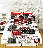 GREAT KNOT LONDON LANDMARK DUVET COVER SET POLY COTTON EASY CARE BED LINEN (SINGLE)