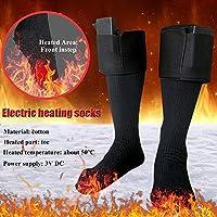 Calcetines térmicos con calefacción a pilas, calentadores de pies de invierno, calcetines térmicos cálidos eléctricos, calcetines cálidos de algodón para hombres y mujeres para esquí al aire libre, tamaños 36-46(pilas no incluidas)
