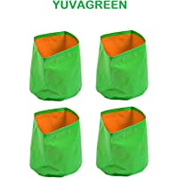 """YUVAGREEN Green with Orange 200 GSM UV Treated Grow Bags for Terrace Gardening 9""""X9"""" Set of 4"""