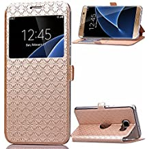 View Etui en PU pour Samsung Galaxy A5 (2016) A510 Smartphone - Yihya Simple Slim [View Window] Flip Folio PU Leather Wallet Case Coque Housse de Protection Portefeuille - Or ( Gold )
