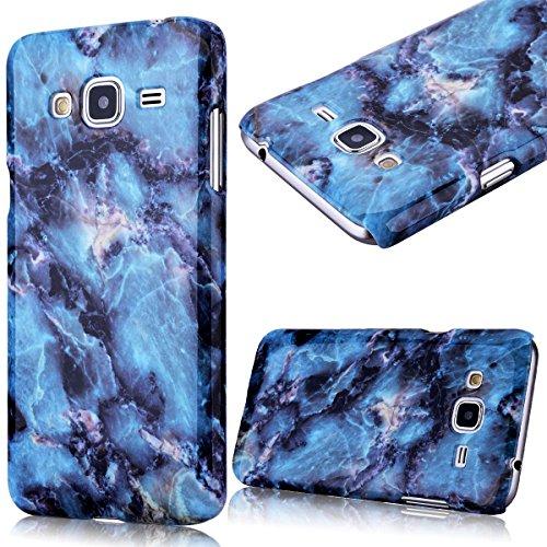 GrandEver Custodia Rigida per Samsung Galaxy J3(2015), Design Marmo Modello UltraSlim Dura PC Protettiva Cover Case Della Protezione Anti-urto - Blu