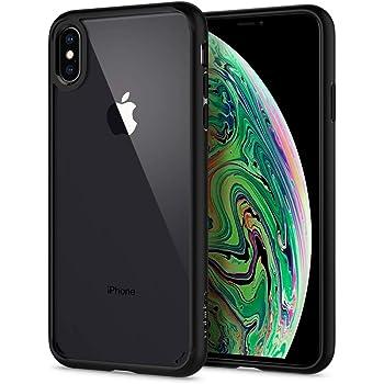 Spigen Ultra Hybrid 065CS25128 - Cover per iPhone XS Max, in policarbonato Trasparente, con Bumper in Silicone, per iPhone XS Max (6.5 Pollici), Colore: Nero Opaco