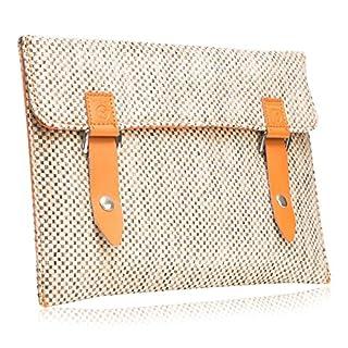 """#DoYourMobile© Tasche/Schutzhülle Laptops BZW. Notebooks - Tweedstoff in der Größe L 38 x B 25,3cm / 12-13,3""""mit edlem Emblem & Druckknopfverschluss/Stoffmuster : 3 (beige grob)"""