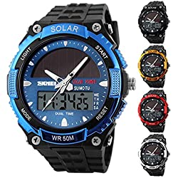 UNIQUEBELLA Climbing Dive 50m Waterproof Digital Sport Alarm Solar Powered Wrist Watch, Date and Day Led Light Men Wrist Analog-Digital Bracelet Watch