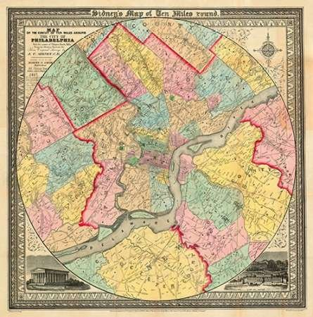 J.C Sidney - The City of Philadelphia 1847 Kunstdruck (60,96 x 60,96 cm)