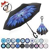 ZOMAKE Paraguas de Doble Capa Invertido, Paraguas Plegable Reversible con Protección contra Rayos UV, Resistencia con Viento, Mango en Forma de C para Mujer Hombre Coche(Lirio de Agua Azul)
