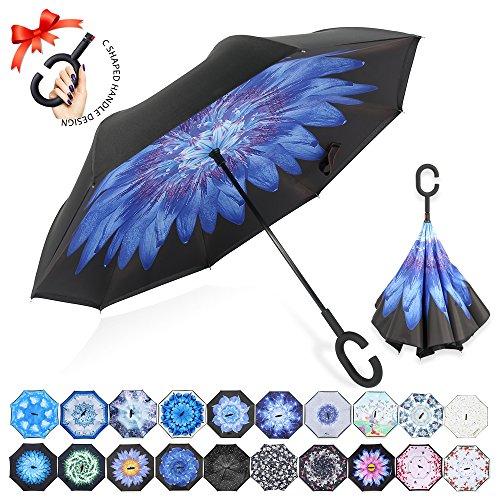 Reversion Regenschirm, Innovative Schirme Double Layer Winddicht Regenschirm Freie Hand Taschenschirm Inverted Stockschirme mit C Griff für Reisen und Auto Outdoor di ZOMAKE (Blaue Seerose)