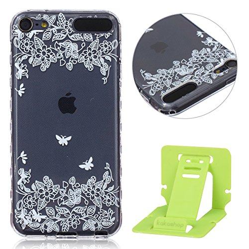 iPod Touch 5G/5th gen Hülle, iPod Touch 6G Silikon Gel Schutzhülle, Ekakashop iPod Touch 5/Touch 6 (5 / 6 Generation) Weiche TPU Ultradünn Slim-Fit Smartphone Handyhüllen Tasche Back Cover Bumper, Transparent Crystal Clear Case Schale Etui Durchsichtig mit Niedliche Cartoon Tiere Malerei Weiß Blumen Flowers Henna Muster für Apple ipod Touch 5/6 - Schmetterling und Blume + 1x Kostenlos Ständer (Farbe zufällig) (Ipod 5 Fällen Cartoon Tiere)