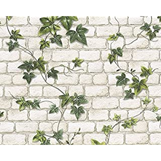 A.S. Creation 9804-34 Ivy Brick Effect Wallpaper White/Green