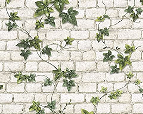 A.S. Création paper wallpaper Dekora Natur green white 10,05 m x 0,53 m 980434