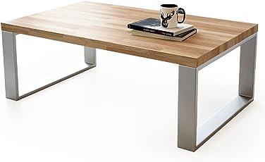 Fantastisch Couchtisch Wohnzimmertisch Braun Holz Wildeiche Metall Silber Rechteckig  4cm Massivholz Modern