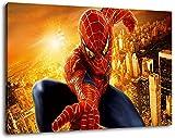 Spiderman Format 80x60 cm Bild auf Leinwand, XXL riesige Bilder fertig gerahmt mit Keilrahmen, Kunstdruck auf Wandbild mit Rahmen