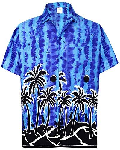 LA LEELA männer Hawaiihemd Kurzarm Button Down Kragen Fronttasche Beach Strand Hemd Manner Urlaub Casual Herren Aloha Königsblau_243 7XL Likre 1908