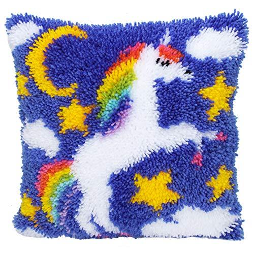 Knüpfkissen für Kinder und Erwachsene zum Selber Knüpfen DIY Kissen Latch Hook Kit Einhorn Unicorn 41 * 41cm 800 ()