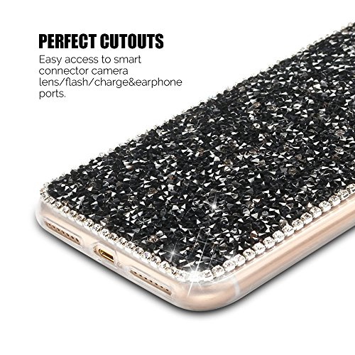 Coque iPhone 7 Plus (5.0 pouce) , Bling Diamant Modèle TPU Case Rose Crystal Mignon Mickey Oreille Étui de Protection Flexible Soft Slim Souple Silicone Cover Anti Choc Ultra Mince Couverture Bumper C Noir