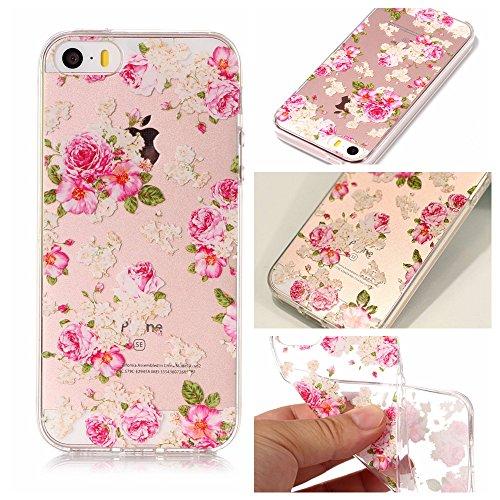 Cover iPhone SE 5 5c 5s, SportFun Slim Flexible TPU Custodia Protettiva in silicone per iPhone 5S 5 5 C SE Case (Bananenbaum) Pfingstrose Blumen