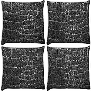 Snoogg Black Stones Pack Of 4 Digitally Printed Cushion Cover Pillows 12 X 12 Inch