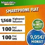 klarmobil Smartphone Flat XL mit 1500 MB Internet Flat max. 7,2 MBit/s, 100 Frei-Minuten in alle deutschen Netze, 24 Monate Laufzeit, monatlich nur 9,95 EUR, Triple-Sim-Karten
