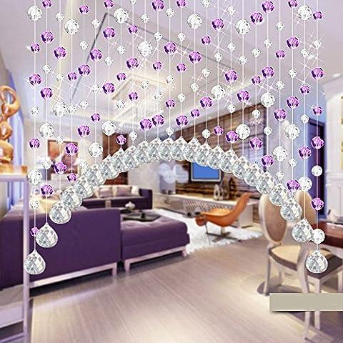 ARC Fini Perle en cristal Rideau Damark (TM) Mode Rideau Cristal de luxe Salon Chambre à coucher fenêtre Porte Mariage, Verre cristal, violet,