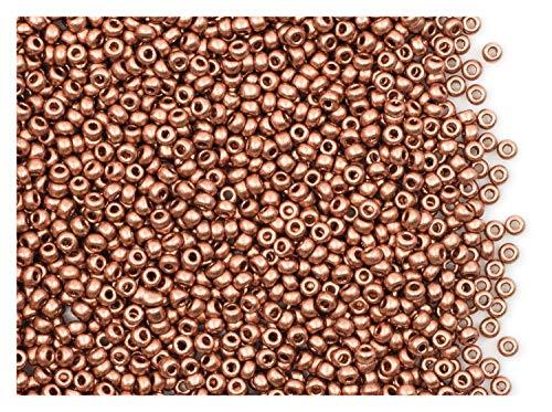 20 Gramm (ca. 2600 Stück) Tschechische Glas Rocailles, Größe 11/0 (2,0mm-2,2mm), Rundloch, Farbe: Vintage Copper -