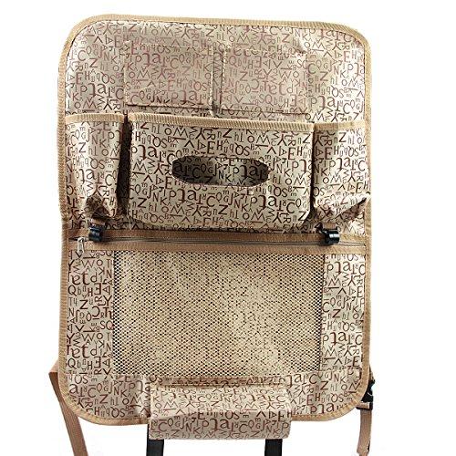 Neue Multifunktional Rücksitztasche Rückenlehnenschutz Utensilientaschen Rücksitz-Organizer für Auto, SUV, Minivan, LKW und Jeep (Braun)