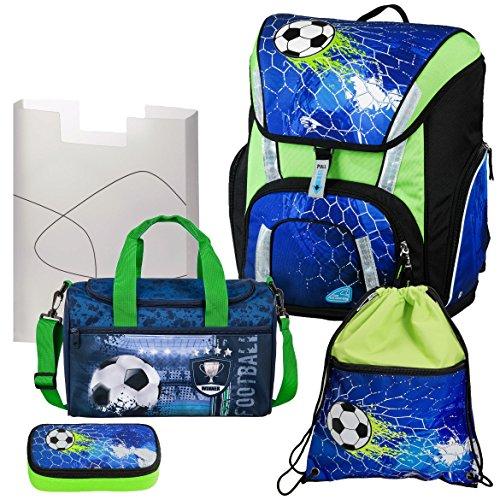 Soccer Champ - Football Fußball - Schulranzen-Set TOOLBAG SMART Schneiders 5teilig mit SCHULSPORTTASCHE - 78321-070