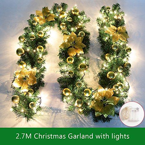 2.7m Weihnachtsgirlande Tannengirlande Mit Lichtern Weihnachtsdeko Beleuchtung DIY Weihnachten Girlande Tanne Dekoration (Gold)