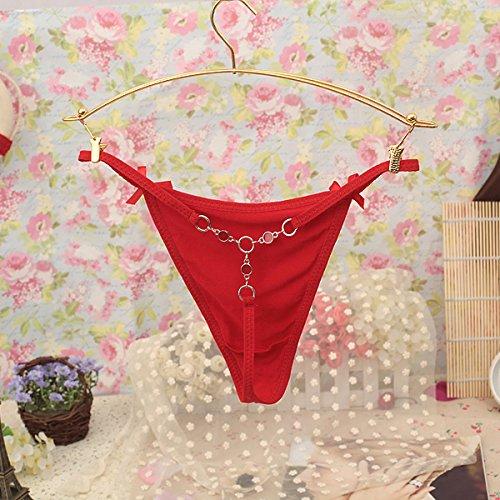 RRRRZ*Sexy temperamento e metallo 3 Angolo Terrazza pantaloni tentazione di bassa altezza di slip di cotone della cinghia di sicurezza T , due pantaloni sono codice , Rosso PASSIONE