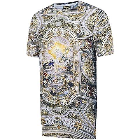 Pizoff Unisex Hip Hop Urban Basic T-shirt lunga con busto a contrasto