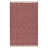 Indian Arts air Trade Diamond Weave 100% Baumwolle Handwebteppich mit genähter Kante 60x90cm, Textil, rot