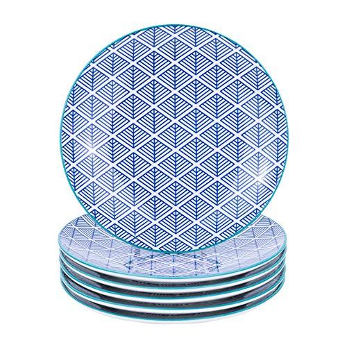 Nicola Spring Assiette à Fromage/à Dessert à Motifs géométriques - 190 mm (7,5 Pouces) - Bleu foncé - Boîte de 6